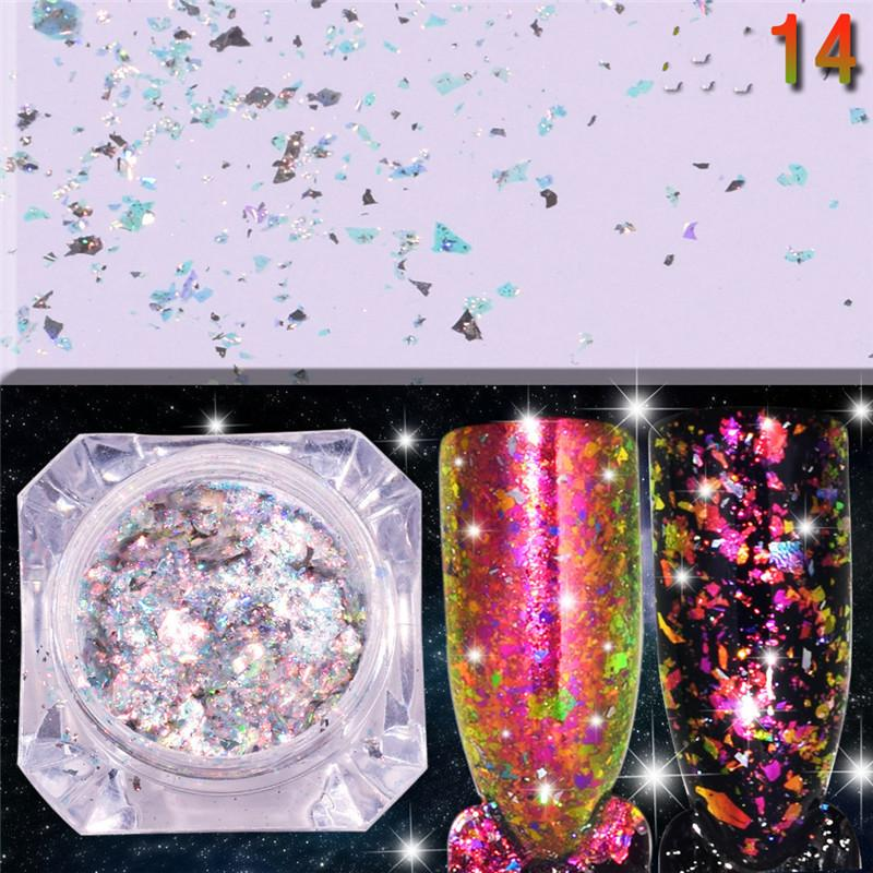 Trendy DIY Shinning Krom Ayna Toz Tırnak 14 Renkler Metal Nail Art İpucu Dekorasyon Pigment Glitters Toz 1g