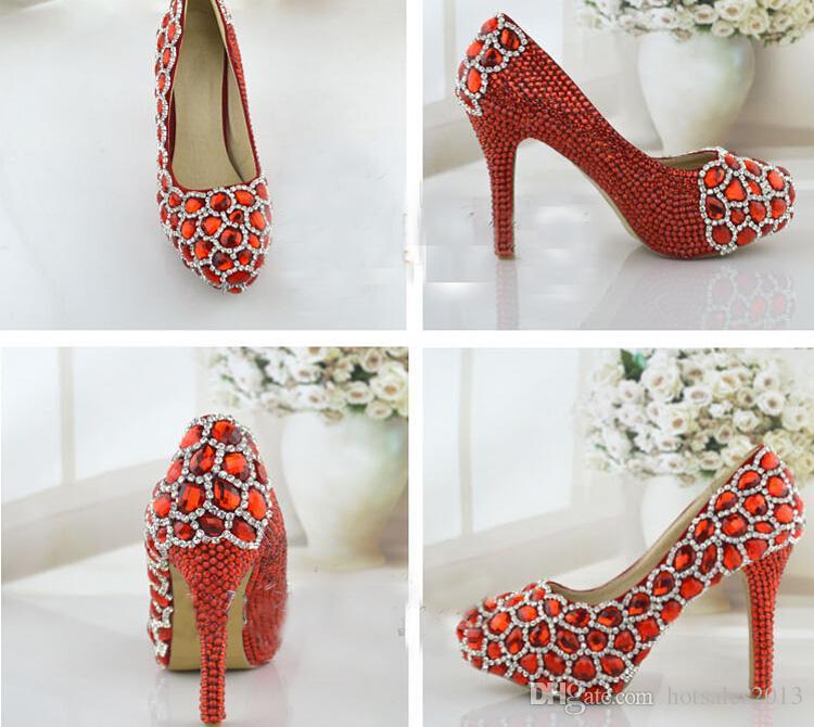 Diamantes de imitación brillantes Zapatos de boda rojos Banquete de rendimiento Tacones altos Fiesta de cristal Plataformas de baile Zapatos de mamá Moda Mujer Bombas