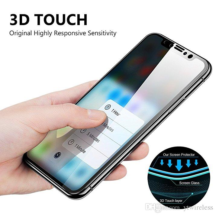for iPhone X 7 8 Plus XS MAX XR full cover Tempered Glass 3D Curve Screen Protector With Retail Box Package