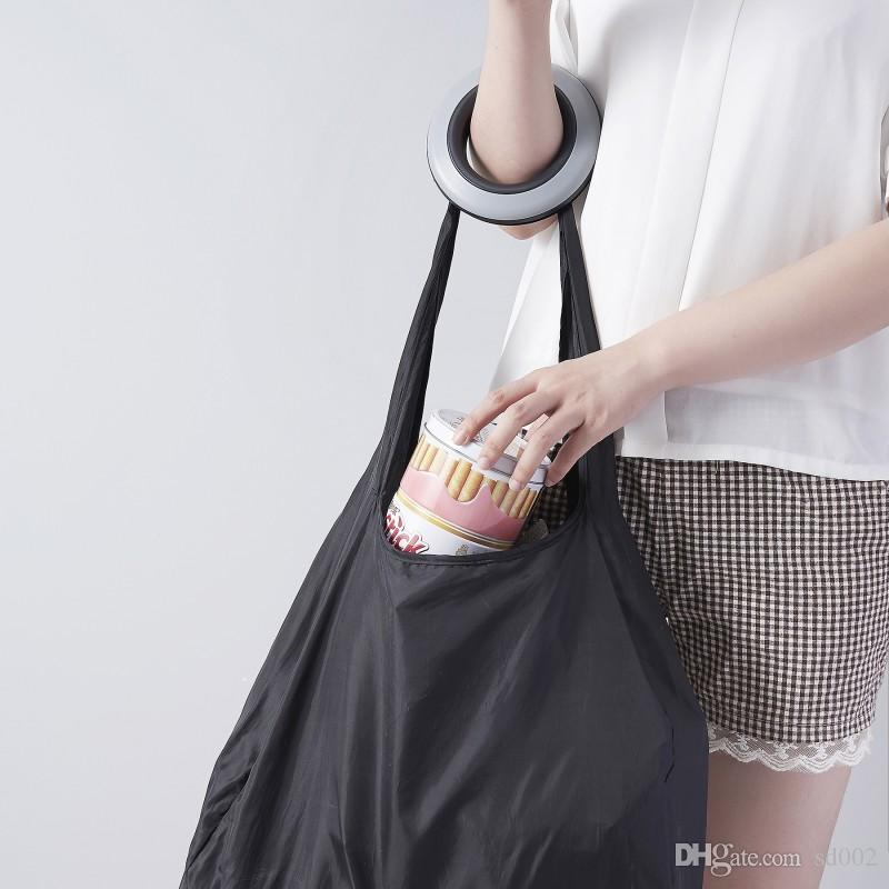 Round Storage Bags Creative Roll Up In Small Case Pouch Convenient Black Nylon Shopping Bag Hot Sale 10 78sr B