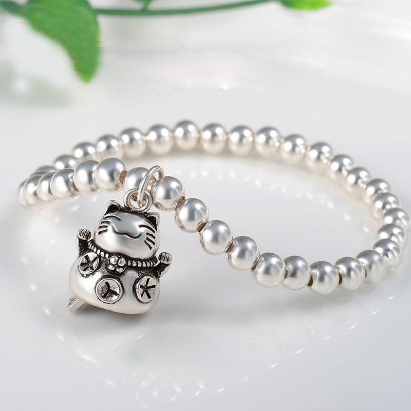 2016 Fashion New 5mm beaded 925 Sterling Silver Bracelets +Thailand Silver fortune cat Charms Bracelet