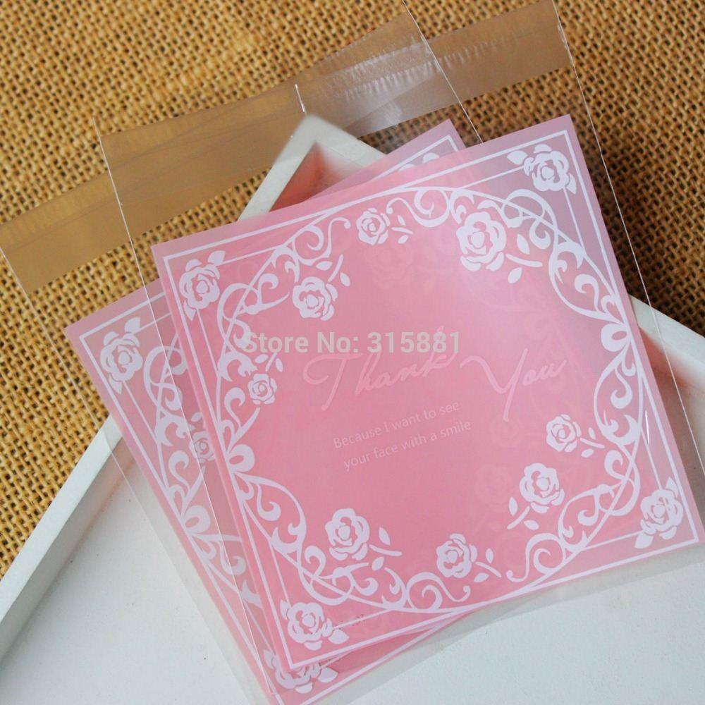 Online Cheap Pink Roses Thank You Self Sealing Wrapping Bags,Cookies ...