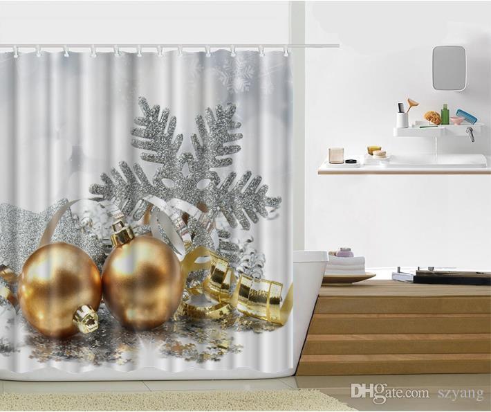 2017 Weihnachten Version Multi-styles 3D HD Digital Gedruckte Duschvorhänge Wasserdicht feuchtigkeitsdichten Bad Vorhänge Fall