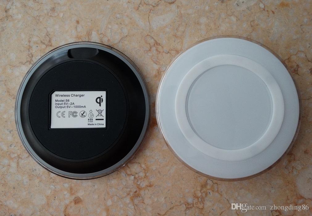 Samsung Için evrensel Qi Kablosuz Şarj hızlı Şarj Not Galaxy S6 s7 kenar perakende paketi ile logo ile Yanal ped A-SC