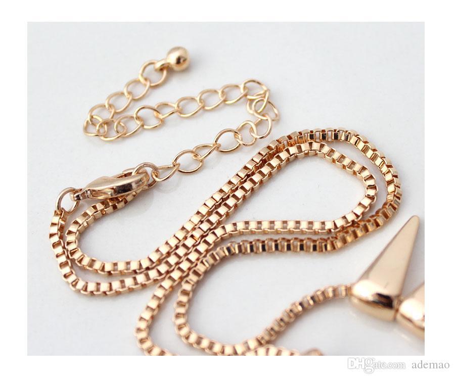 Avrupa ve Amerikan Moda Takı doku altın püskül kısa kolye