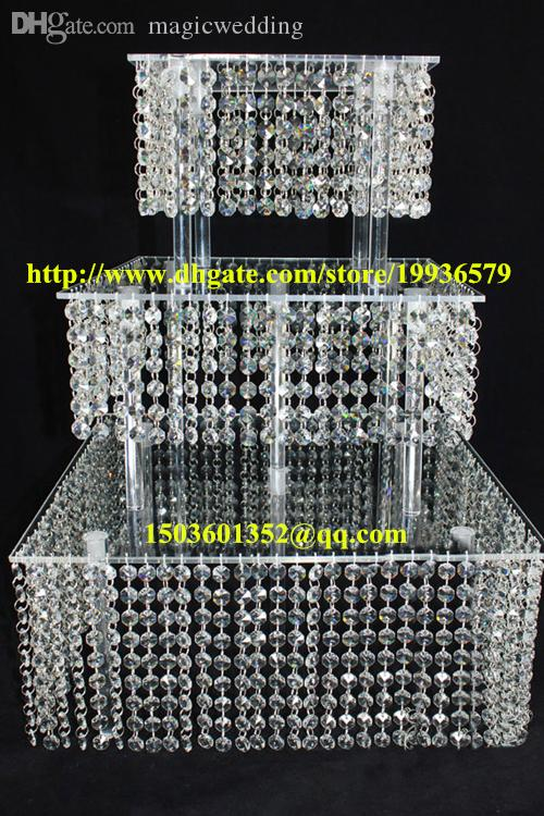 """Acrylic crystal chandelier wedding square cake stand 3 tier dessert stand centerpieces - D 11""""-13-15"""""""