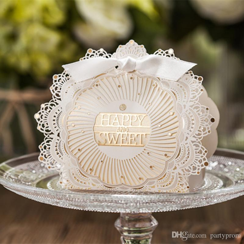 Caixa de Doces Festa de Casamento Lindo Corte A Laser Favor Caixa de Nupcial Festivo Favor de Papel Cartão Do Chuveiro Caixas de Decoração Da Tabela Do Casamento
