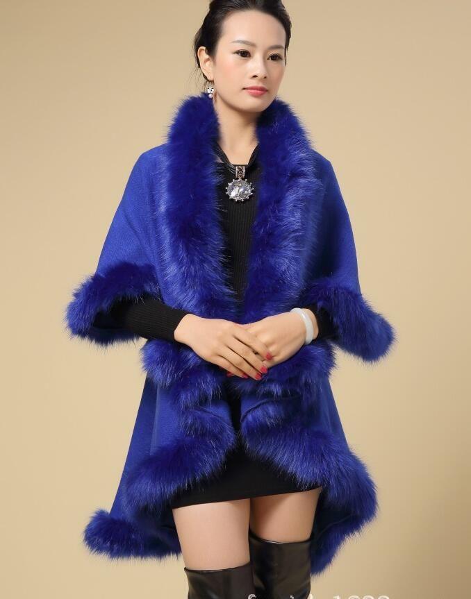 Discount 2015 Winter Ladies Coats Long Poncho Faux Fur Big Yards ...