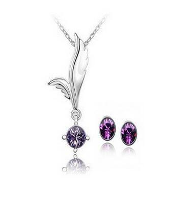 Set di gioielli in cristallo austriaco placcato in oro bianco a buon mercato Fly Charms Ali Collana con ciondoli in cristallo tondo Set di gioielli da sposa