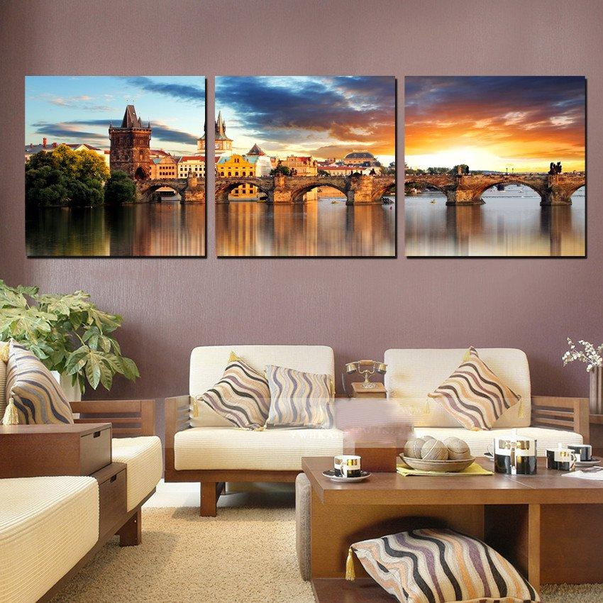 3 Pieces Modern Painting Art Picture Paint on Canvas Prints Urban arch bridge wooden peony tulips potted flower sea sunset glow dark clouds