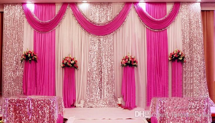 3m 6m Sequins Beads Edge Design Fabric Satin Drape Curtain