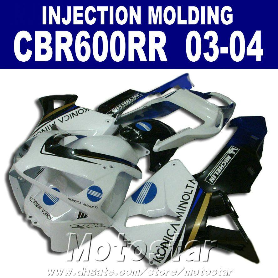 Injection Molding ABS plastic white for HONDA CBR 600RR fairing 2003 2004 03 04 cbr600rr custom fairing W7VF