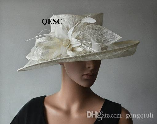 71d2548bc0d Ivory WIDE Brim Formal Hat Sinamay Hat for Church Kentucky Derby ...