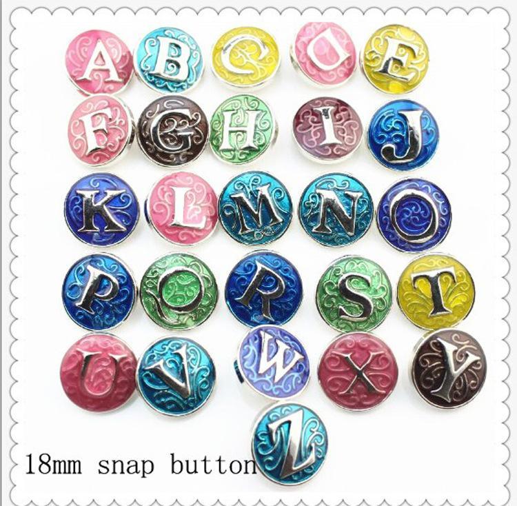 JACKido 26 pçs / lote Initial A-Z Alfabeto Snaps 18mm Carta Snap Button Jóias para Gengibre Snap Charm Bracelet Jóias N838