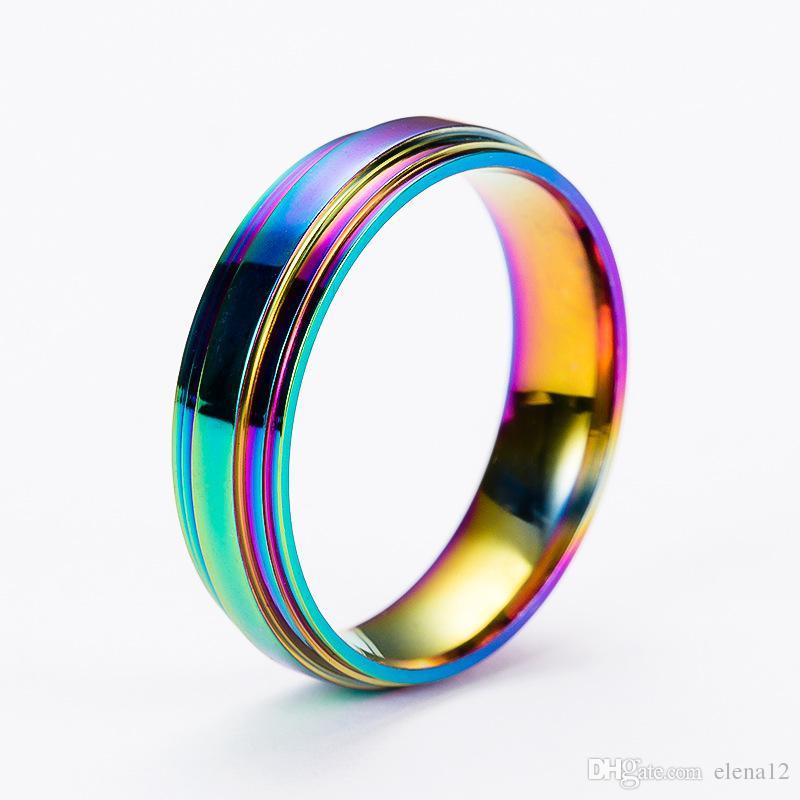 Moda de Alta Qualidade Clássico Das Mulheres Dos Homens de Aço Inoxidável Arco-íris Anel Colorido Anel De Banda De Casamento De Aço De Titânio Presente de Natal 080266