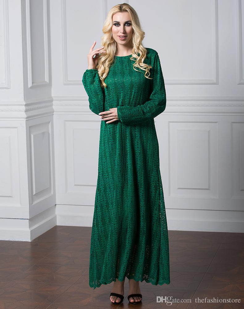 2019 Women O Neck Long Sleeved Maxi Dress Plus Size Muslim Women ...