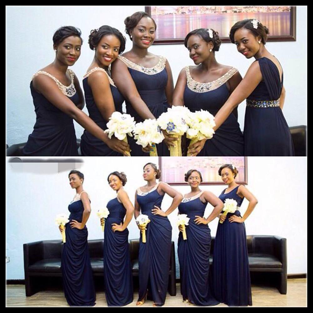 Emmani new gorgeous navy blue bridesmaid dresses sequined backless see larger image ombrellifo Gallery
