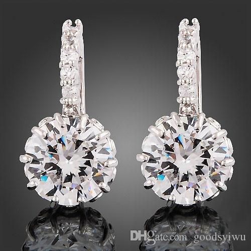 ab8e14795 2019 2015 New Stylish 18k White Gold Gp Clear Crystal Stud Earrings Cute  Flowers Zircon Brass Material Jewelry For Women From Goodsyiwu, $1.49 |  DHgate.Com