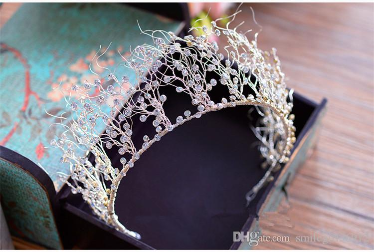 Joyería hecha a mano de lujo nupcial Crystal Rhinestone Queen Crown diadema Tiara Prom accesorios para el cabello de plata al por mayor
