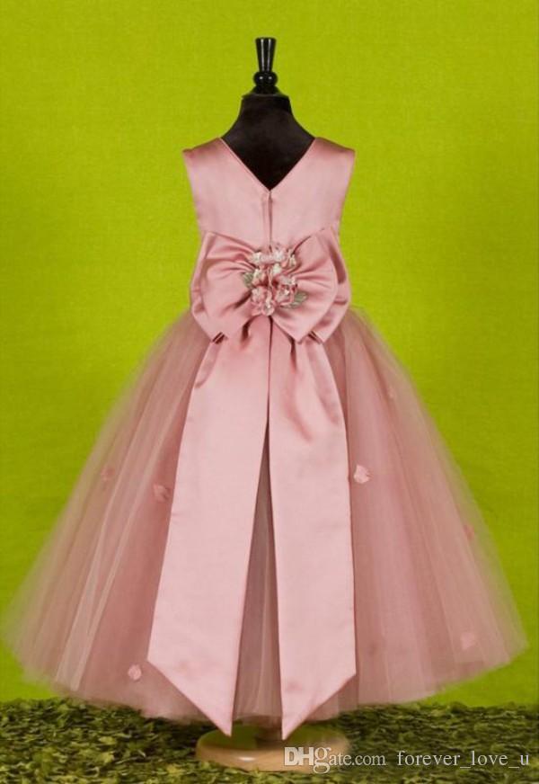 진짜 샘플 걸스 저렴한 미인 드레스 드레스크 핑크 핑크 플라워 걸스 드레스 쥬얼 넥 민소매 수제 꽃잎 꽃잎과 특대 활