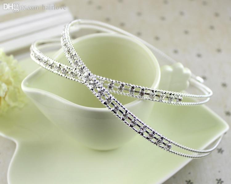 Wholesale-New Korean Style Crystal Rhinestone Headbands Silver Prom Tiaras  Wedding Crown Bridal Bridesmaid Hair Band Headwear-0037 Hair Growth Hair  Display ... 1f941040870
