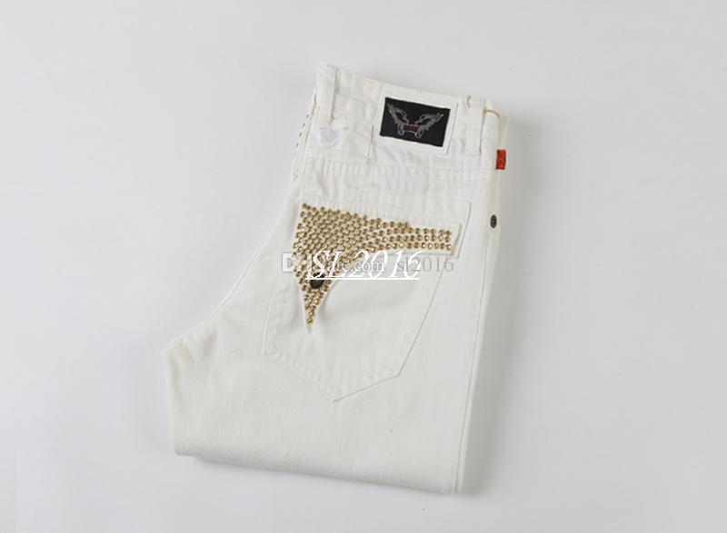 New white bandeira americana jeans para homens magro jeans reta angustiado jeans homens designer de moda famosa marca biker jeans plus size 30-42