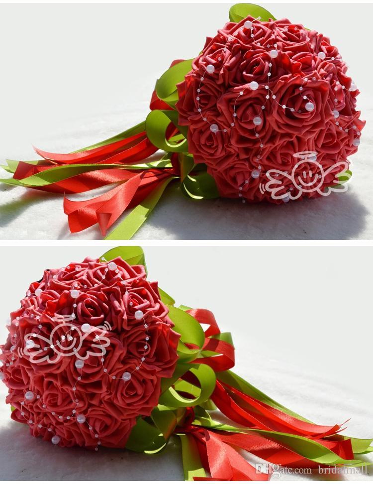 2018 Belo casamento buquê nupcial decoração casamento pérolas de flor de dama de honra com seda rosa pure marfim rosa e vermelho 18 peças hy
