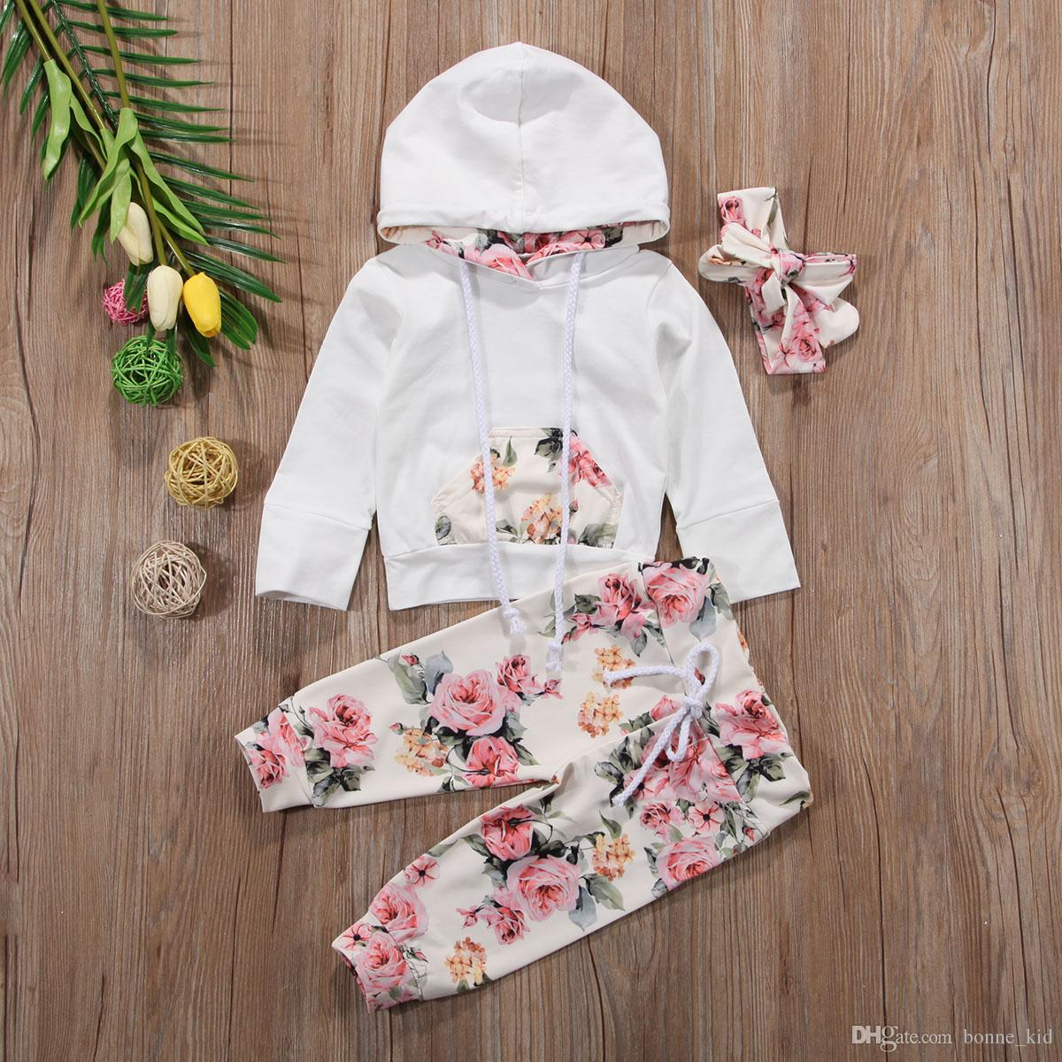 5624834127cd5 New Baby Infant Girls Clothing Set Flower Long Sleeve Hooded Tops +Pants+Headband  Outfits 3pcs Set Floral Tracksuit Baby Girl Toddler 0-24M