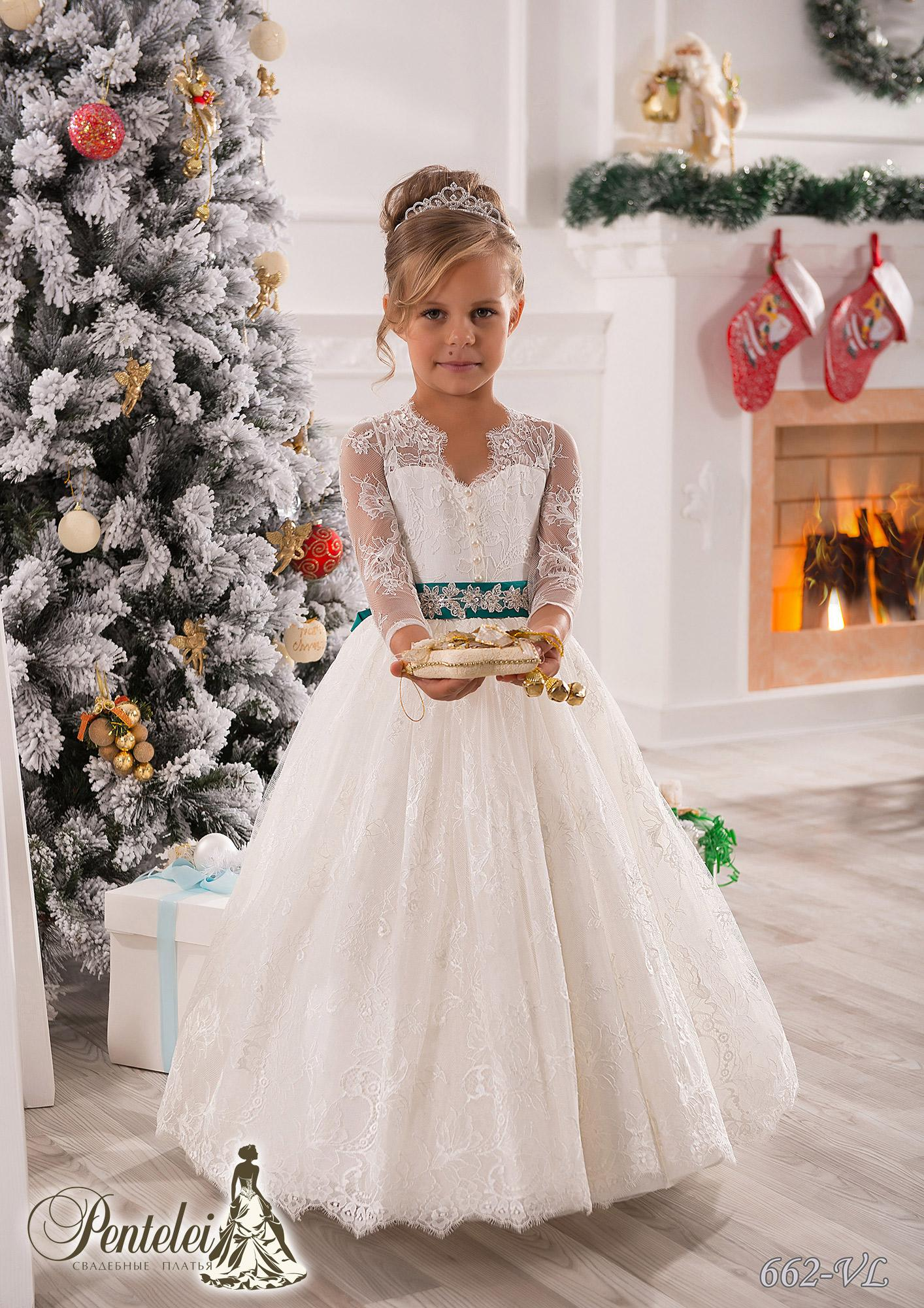 Vintage Long Sleeves Lace Ball Gown Baby Girl Birthday