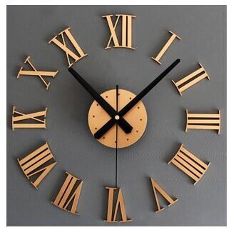A Metallic 3 D Diy Roman Numerals Wall Clock Creative Wall Clock Diy - 3-roman-numerals-clocks