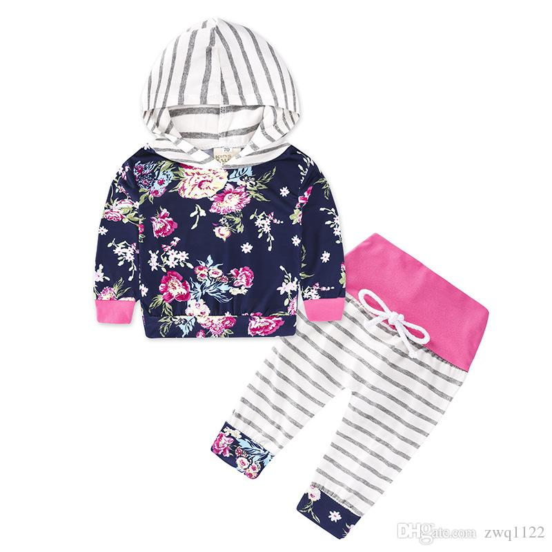 Newborn Autumn Clothing Set Toddler Tracksuit Kids Floral Printing Hoodies+Striped Pants Playsuit Girls Clothing Sets