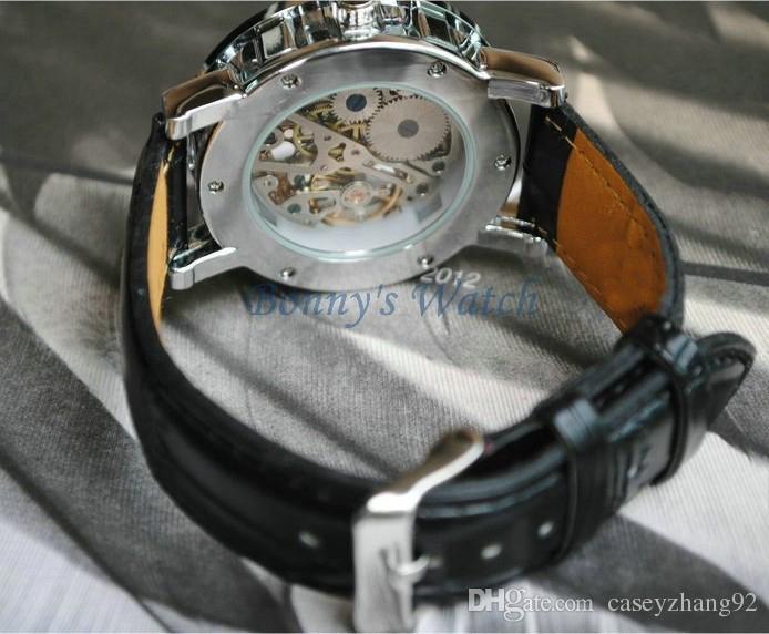 패션 우승자 블랙 가죽 밴드 스테인레스 스틸 해골 기계식 시계 남자 골드 기계식 손목 시계 무료 배송