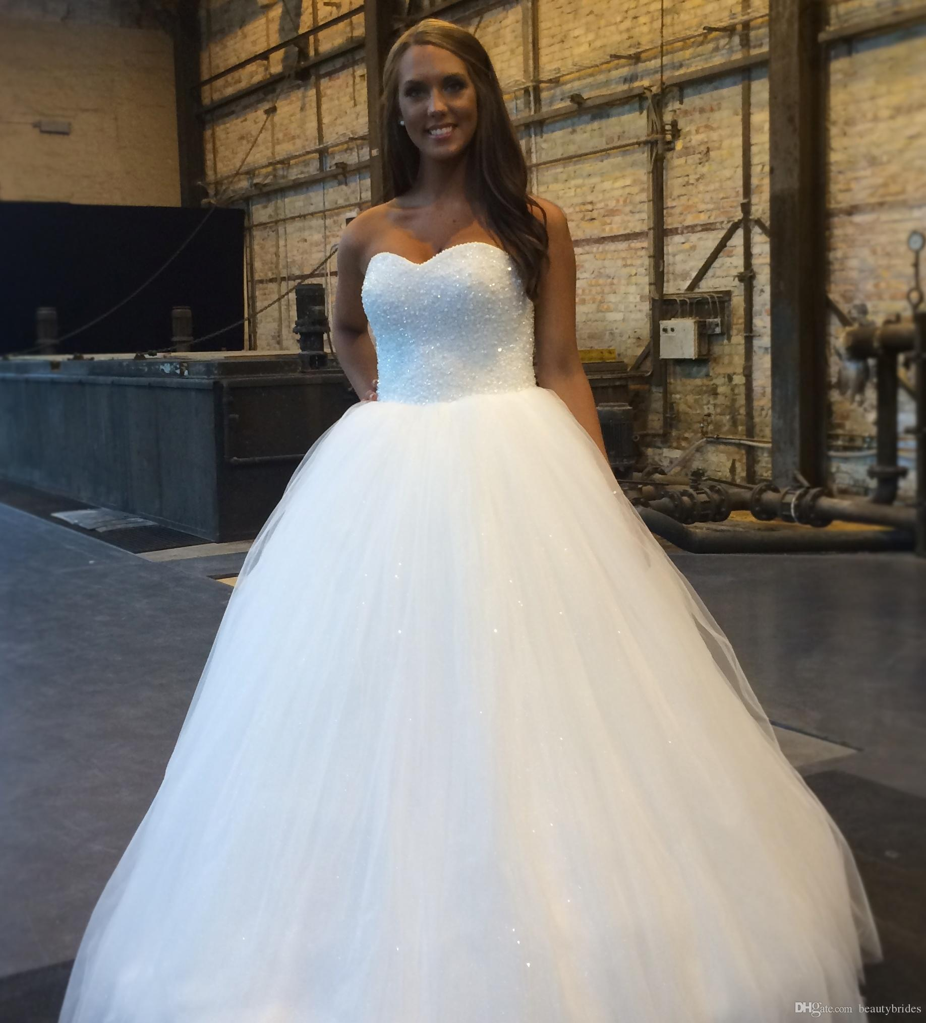 2015 Amazing White Princess Wedding Dresses Bling Bling Top Puffy ...