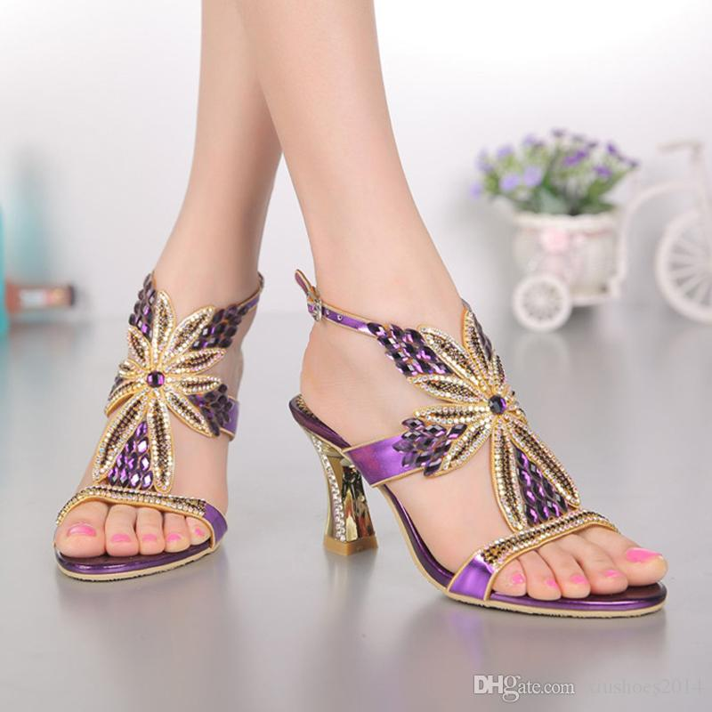 2015 Fashion Champagne Purple Gold Sandals Foral Crystal Prom Party Shoes  Summer Bridal Wedding Shoes Ankle Strap Chunky Heels Cheap Bridal Shoes  Online ... 3271b03e3653