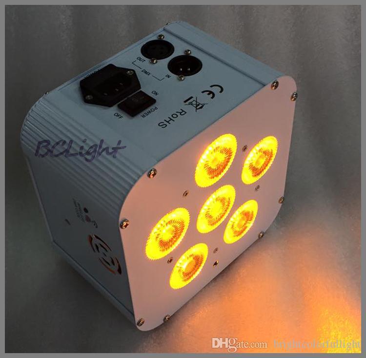 1 fly case /  Control remoto por infrarrojos RGBAW UV LED batería de luz ascendente de boda DMX de alta potencia par 6x18W caja blanca