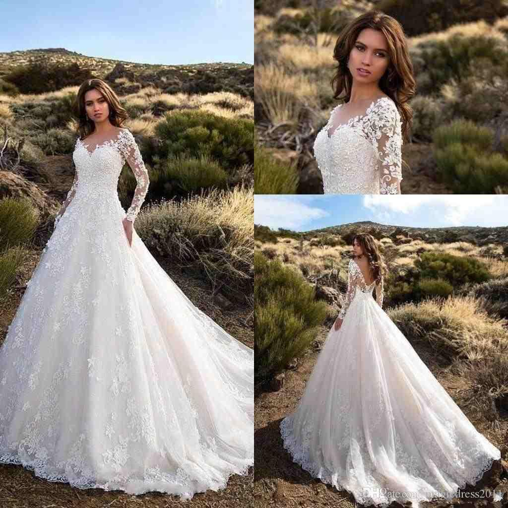 2018 Modest Cheap A Line Wedding Dresses 3D Floral Flowers Appliques Lace Long Sleeves Sweep Train Open Back Plus Size Bridal Gowns Custom