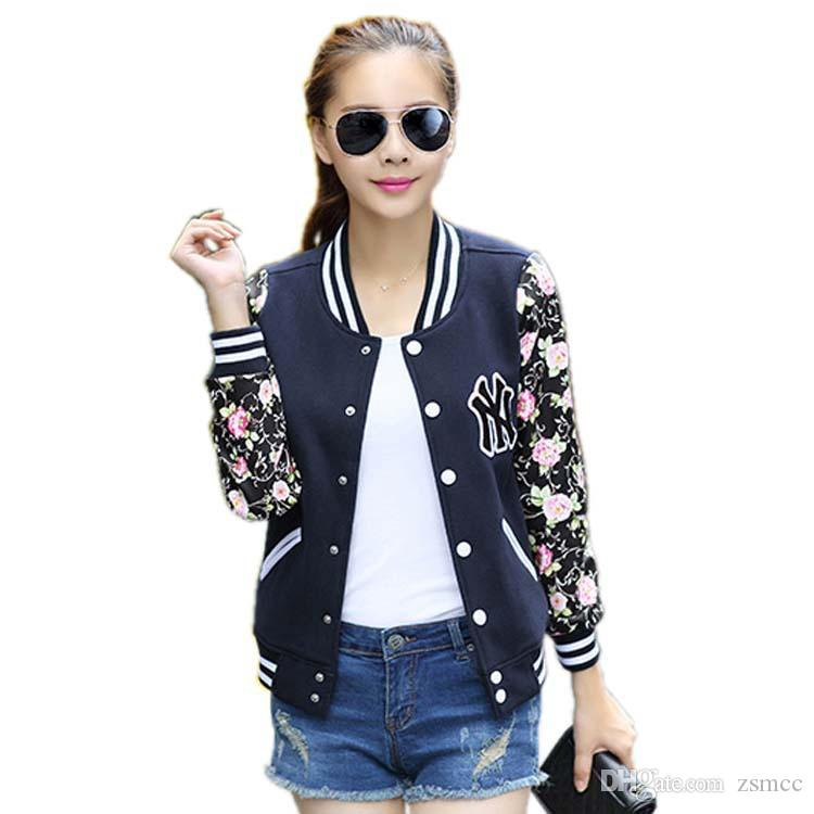 2016 New Fashion Women Jacket Print Patchwork Slim Baseball Jacket ...