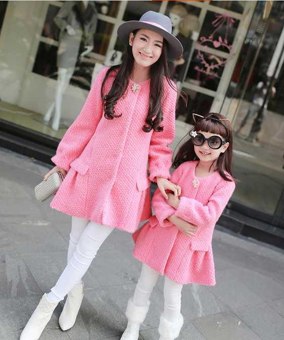 High Quality Fashion Woolen Coats For Mother Daughter ...