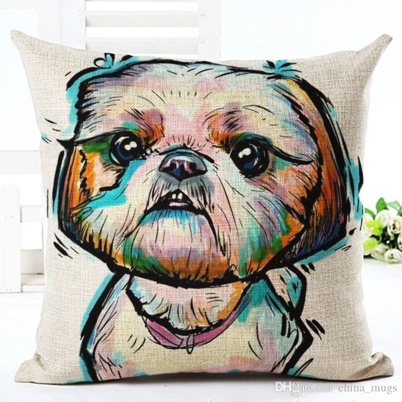 2018 Sofá Travesseiro Bull Terrier Pintado Travesseiro dachshund 18 padrões Quadrados Algodão Linho Capa de Almofada Barato Para Casa