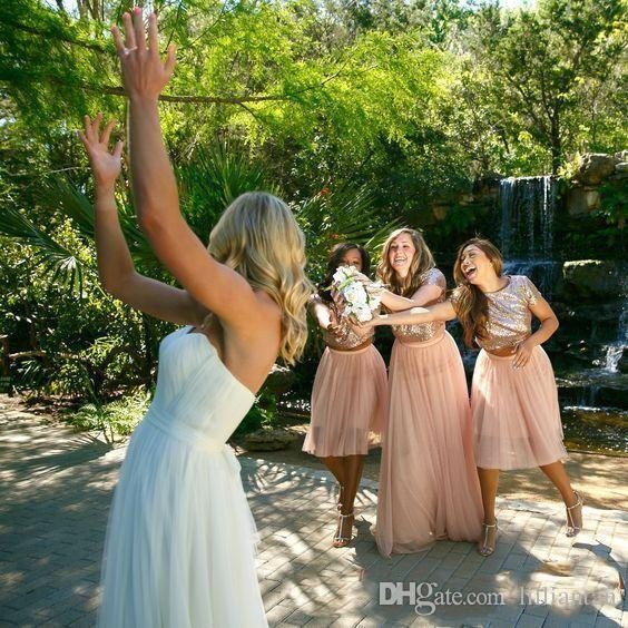 Sequin Short Bridesmaid Dresses Short Sleeve Knee Length A Line Country Wedding Party Dresses Chiffon Bridesmaids Gown Rose Gold