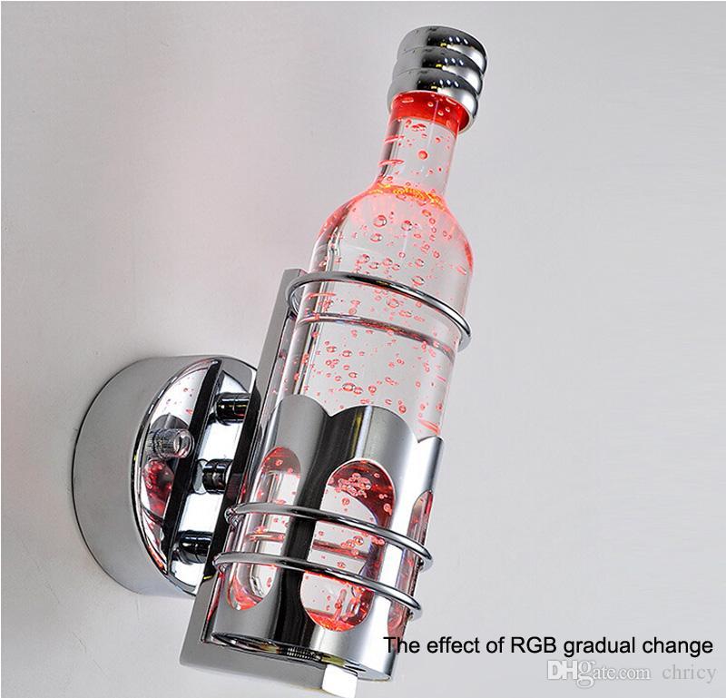 Neuankömmlinge Bunte weiße und warme weiße LED Flasche Kristall Wandleuchte moderne kreative kurze Weinflasche Nachttisch LED Wandleuchte
