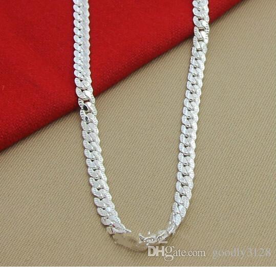Gros-Mode de haute qualité neuf femmes hommes hommes femelle 925 Sterling argent Collier Colliers Pendentif Chaîne Lien Pendentifs KX130