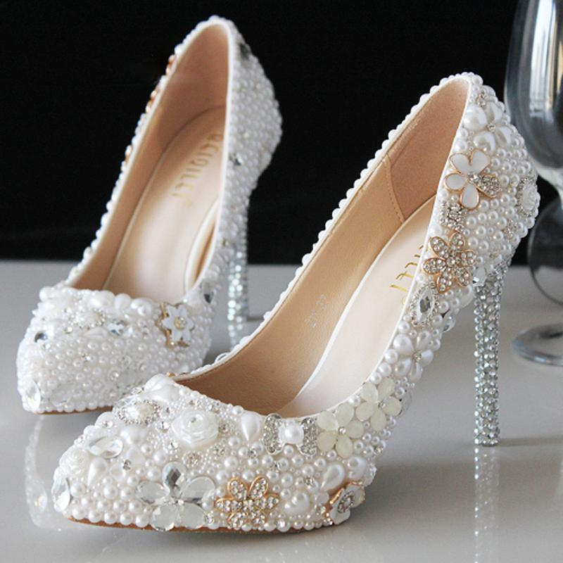 Luxury Attractive Pointed Toe Pearl Bridal Wedding Dress Shoes Comfortable Ivory Shoes for Bride Anniversary Party Shoes