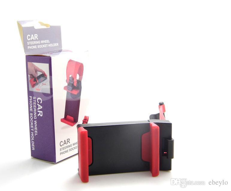 Envío DHL Universal Car Steering Wheel Cradle Soporte para teléfono móvil Clip Car Bike Mount Stand Soporte flexible para teléfono extendido a 86 mm para iphon6 plus