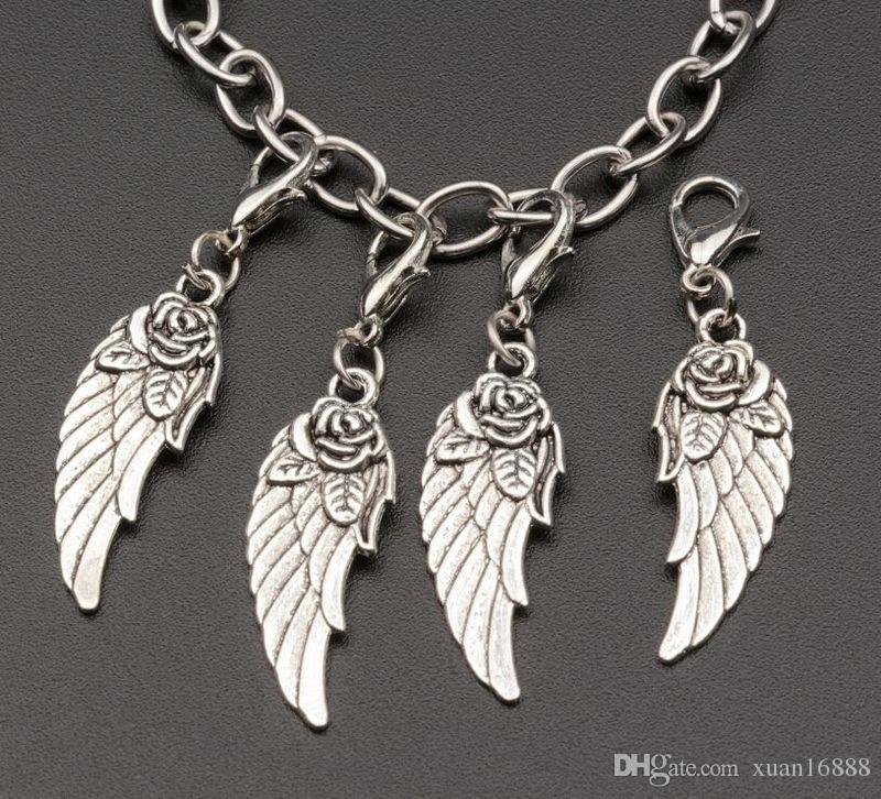 Горячее продавать! Тибетские серебряные крылья из сплава цинка Браслет с застежкой из лобстера Fit Charm Bracelet 44 x 11mm 390