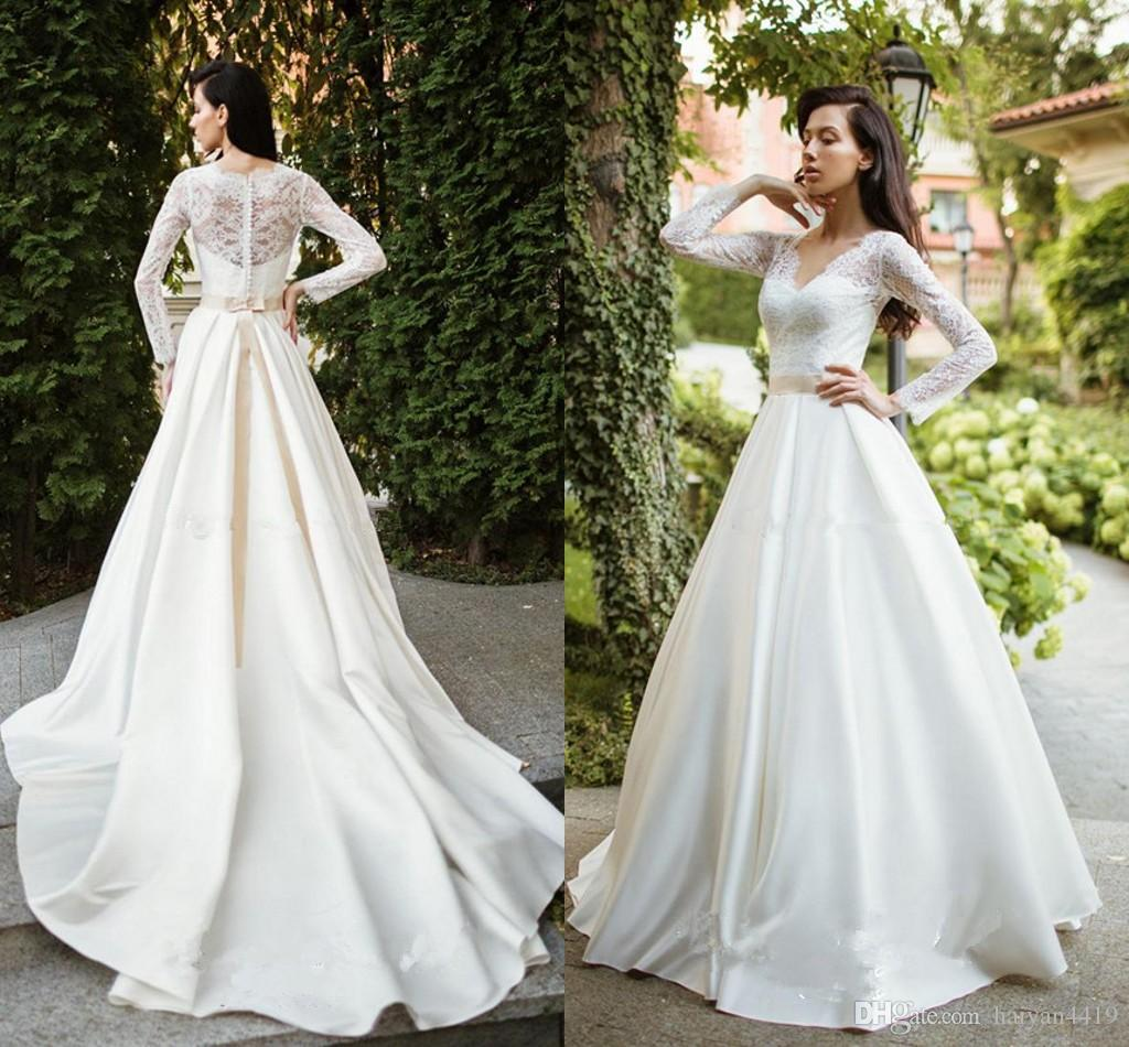 104d0c996df Discount 2018 Arabic Wedding Dresses V Neck Long Sleeves Lace Applique  Sashes Beads Sheer Back Satin Muslim Sweep Train Country Formal Bridal Gowns  In ...