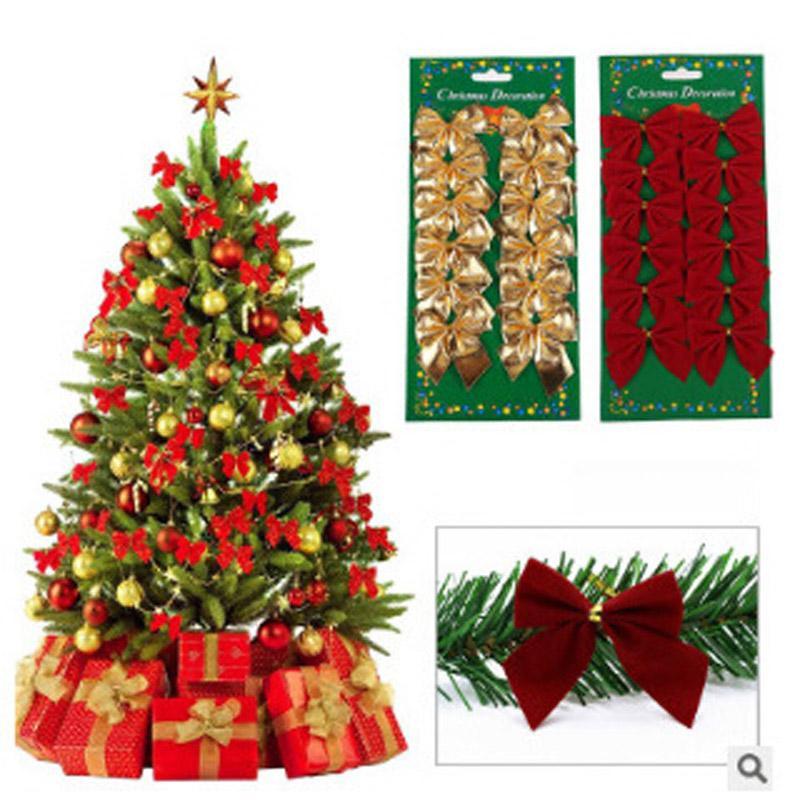 12 unids / set Decoración de Navidad Árbol de Navidad Ornamento de Navidad colgante arco pequeño decoración de Año Nuevo LZ0630