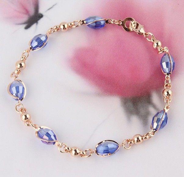Мода женские 18K золотые заполненные синие австрийские кристаллические ожерелье браслет серьги свадьбы / невесты ювелирные изделия наборы подарка