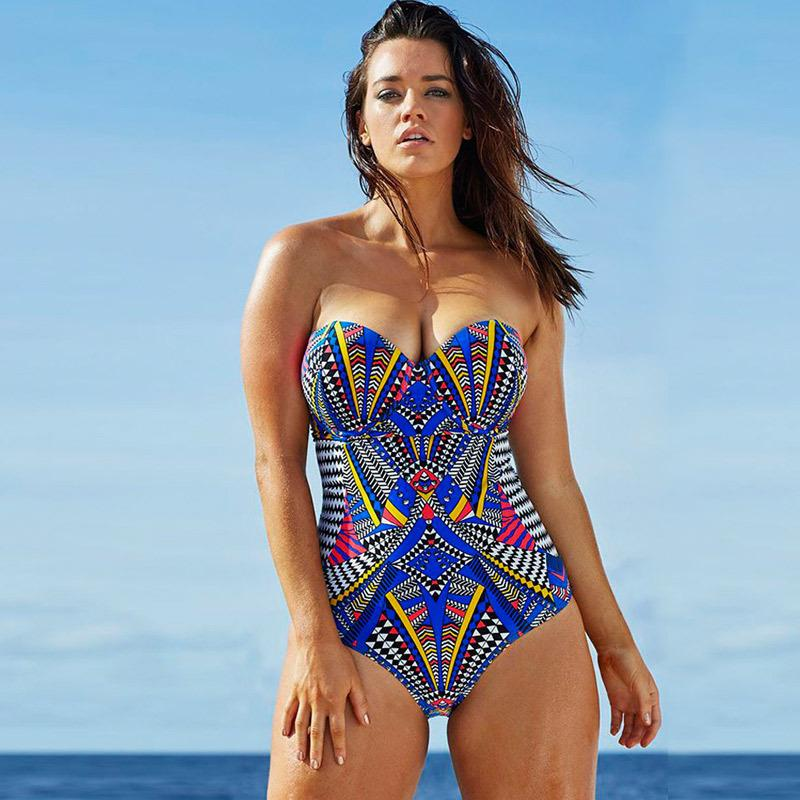 Sexy One Piece Swim Suits Women Sweetheart Bandeau Print Monokini ... a0c0b32a00