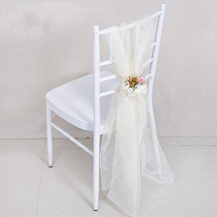 European Style White Wedding Centerpieces Chair Sash with Big Artificial Flower Party Banquet Decorations Chiffon Chair Covers Accessories